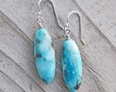 Chrysocolla Elegance Sterling Silver Earrings, Natural Healing Gemstone Earrings