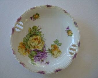 Lovely Vintage Antique Plate, Handpainted, Roses, Flowers, Scalloped, White, Beaded