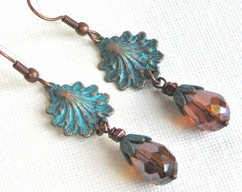 Shell Earrings - Beach Jewelry,  Beach Wedding Jewelry, Copper Shell, Shell Jewelry, Drop Earrings