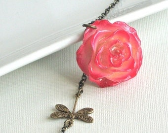 Real Flower Jewelry - Preserved Rose Necklace,  Cream Pink Red,  Dragonfly, Floral Jewelry, Nature Jewelry