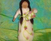 Flower Flower, Sleeping Beauty, Spring Maiden, White Rose Flower Faerie Doll, Bride, Blessing, Waldorf, Magic Wool, needle felted