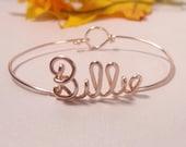 Name bracelet, Rose gold, Sister gift, birthday gift, wire name