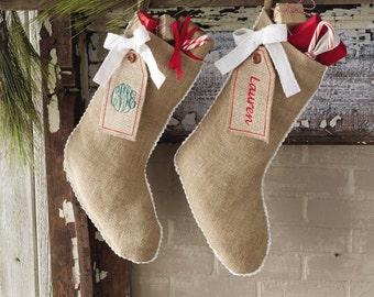 Monogrammed Burlap Tag Stocking