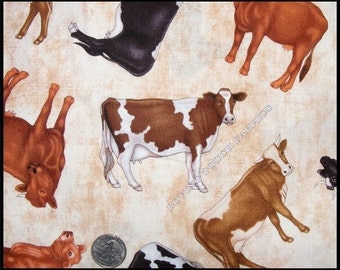 "Country RJR Tossed Farm Animals Cows Cotton Fabric 1/2 Yard 18"" x 44"""