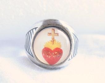 Vintage Hearts Cross Ring Winky & Dutch Adjustable Transfer Ring