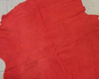 Amazingly soft and thin red-orange lambsuede leather -a full 7 plus square foot hide