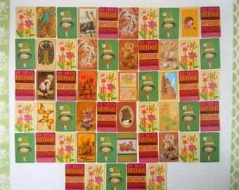 55 Vintage Swap Playing Cards Card Game Green Yellow Orange