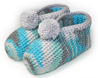 Crocheted Slippers, Blue Turquoise Grey Slippers, Warm Winter Slippers, Slippers for Her, House Slippers, Womens Slippers, Ice Ice Baby Ice