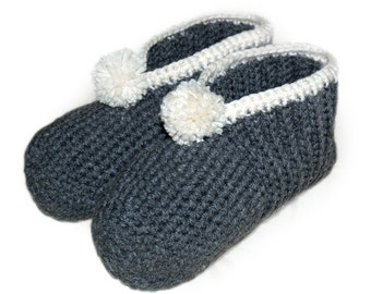 Gray Crocheted Slippers, Grey Crocheted Slippers, Classic Slippers, Slippers for Winter, Mens Crocheted Slippers, Womens Crocheted Slippers