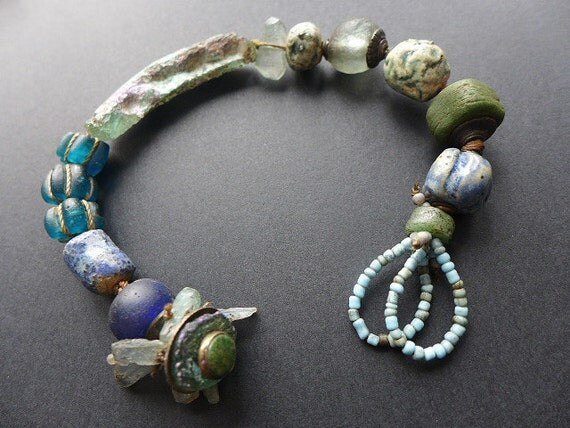 A Daytime Moon. Chunky rustic assemblage bracelet with Roman glass.