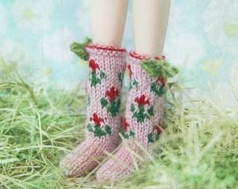 jiajiadoll- Hand Knit- pink flower bowknots socks fits momoko- blythe -Misaki- Unoa light- Lati yellow