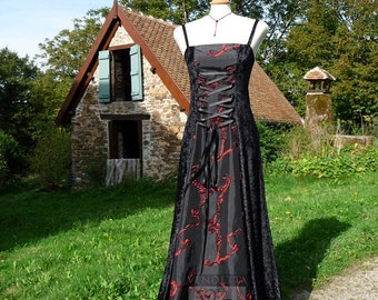 Ready to send Gothic Medieval inspired Slip Dress with corset lacing MEDIUM