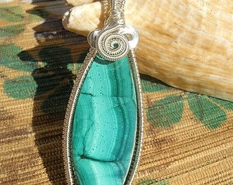 Malachite green banded gemstone wire wrapped handmade artisan jewelry