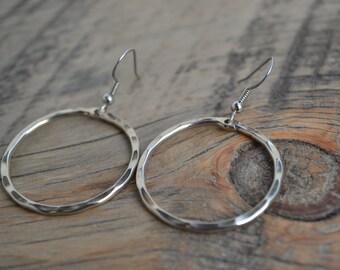 Silver Hoop Earrings, Dangle Earrings
