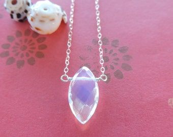 Iridescent opalite necklace - clear opalescent milky white marquise stone & sterling silver chain - beach jewelry