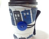 Doctor who coffee cozy, Tardis, Dr Who, coffee cup sleeve, coffee cup cozy, reuseable  eco friendly