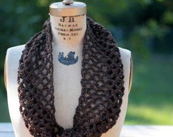 Circle scarf Infinity scarf, lacy cowl brown