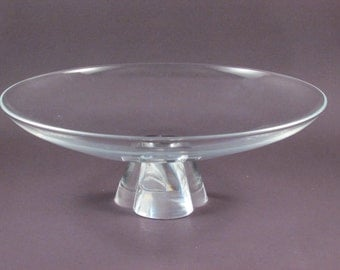 Vintage Steuben Crystal Glass Low Bowl with Pedestal Base Signed Art Glass Bowl