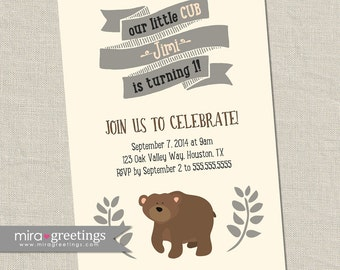 Bear Birthday Party Invitations - Bear cub Little Woodland Birthday Party Invites - vintage baby first birthday (Printable Digital File)