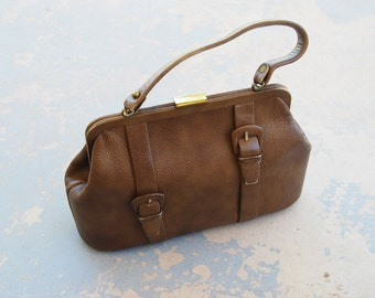 CLEARANCE vintage 1960s Purse - 60s Mod Large Brown Buckle Handbag