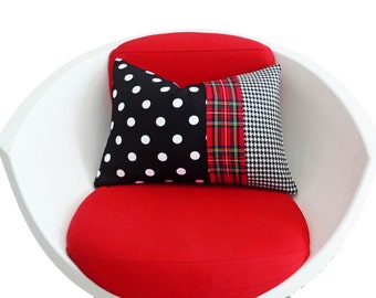 Whimsical Eclectic Pillow, Unique Color Block Pillow Cover, Color Band, Black White Polka Dots, Houndstooth, Red Plaid 14x20 in, 35x50 cm