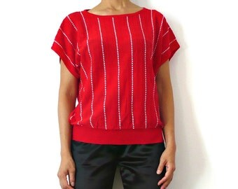 French Vintage Red Knit Blouse70s