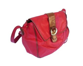 French Vintage Red Coral Satchel