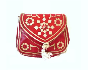 Marocain  Vintage Red Leather Embroidered Satchel / Shoulder Bag