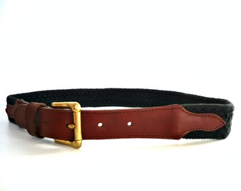 French Vintage Tan Leather and Black Cotton Woven Belt