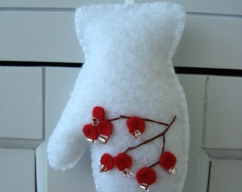 Red Winter Berries Iced Dew Embroidered Mitten Felt Ornament Gift Topper
