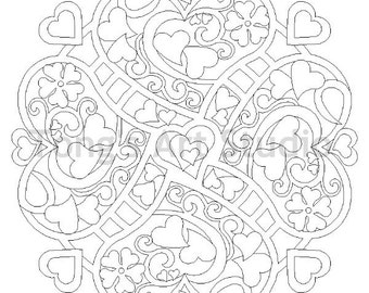 Printable Mandala Coloring 001 Instant Download Meditation Releases Stress