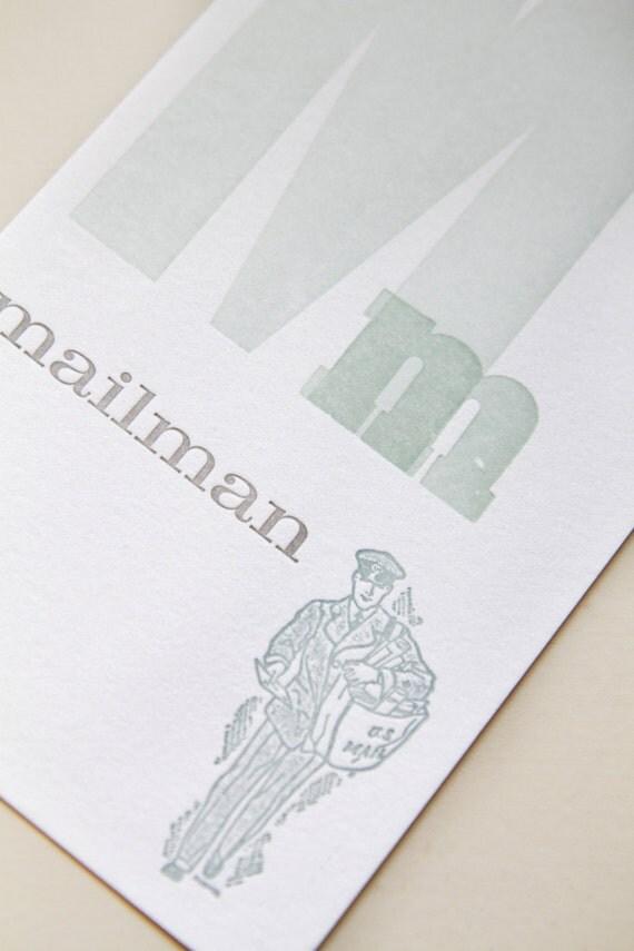 Mailman flash card - letterpress printed postcard