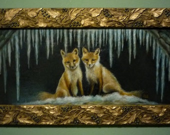 Little Foxes in Winter - Original Oil Painting in Antique Victorian Frame