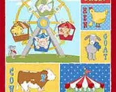 Cuteville Country Fair Cotton Panel 24 x 44 by Cathy Heck for Henry Glass and Company