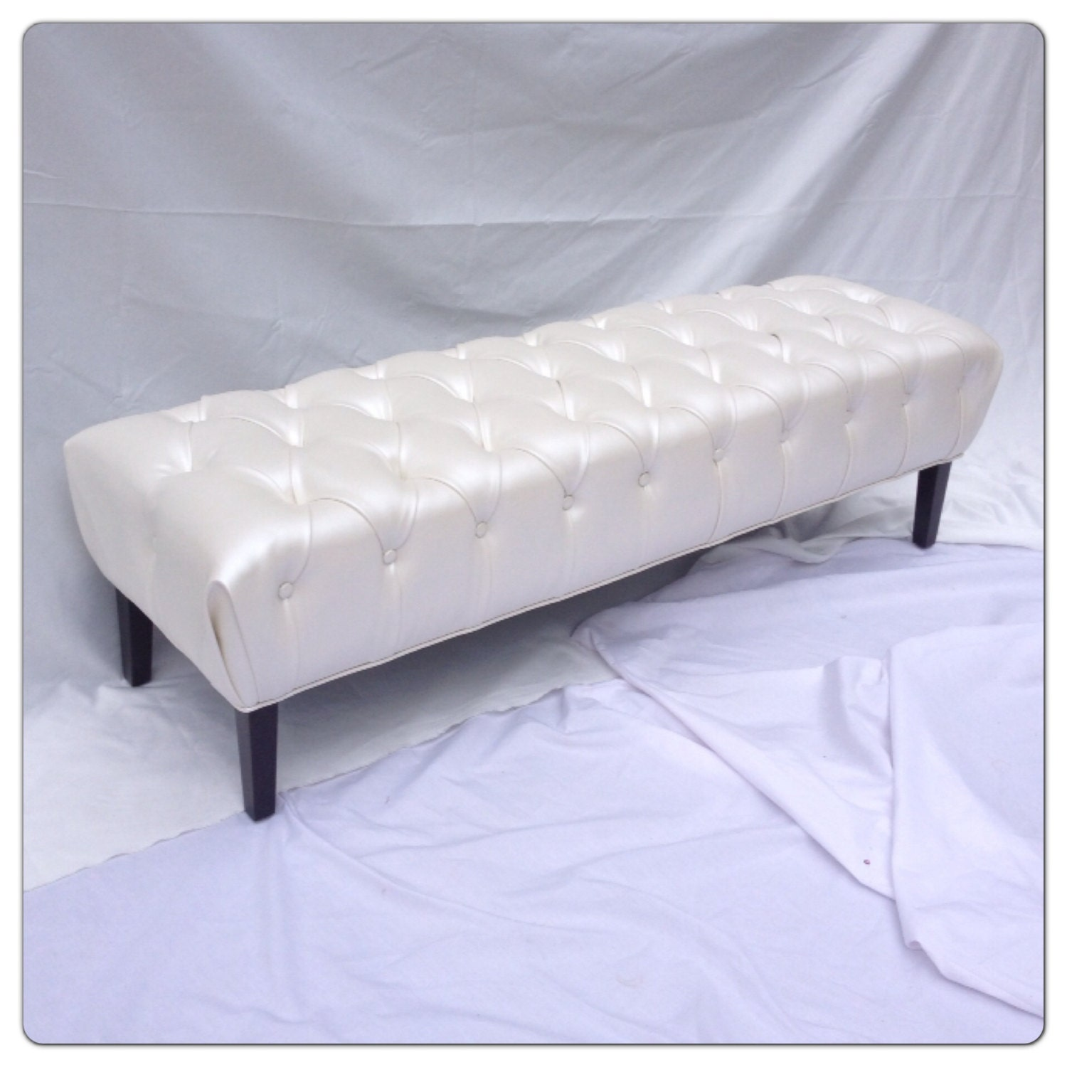Tufted Bench Upholstered Bench Faux Leather Ivory Bench Off