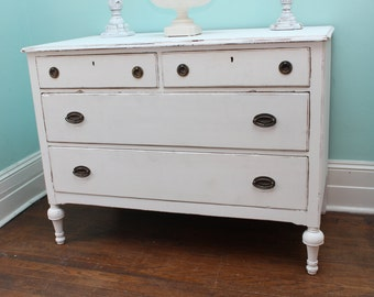 custom order dresser Shabby Chic White Distressed Antique Vintage Bedroom Changing Table cottage prairie