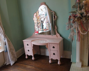 custom order vanity with mirrorand chair shabby chic pink white distressed bedroom girl cottage vintage