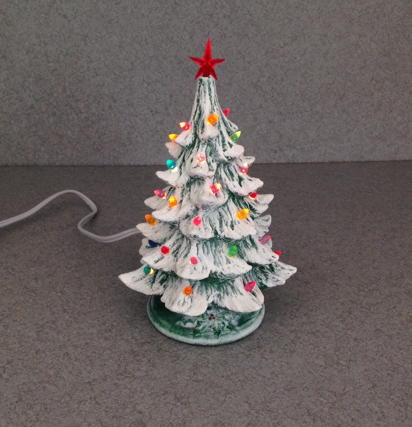 Ceramic lighted Christmas Tree Small Light Stained