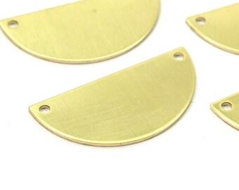 Half Circle Blank, 12 Raw Brass Semi Circle Blanks With 2 Holes (30x15x0.80mm) B0157