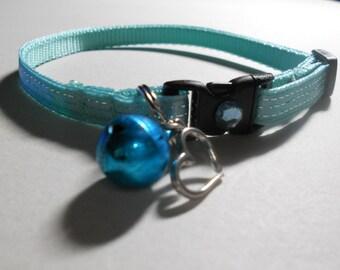 Cat or Kitten Breakaway Collar  - Aqua with Silver Threads