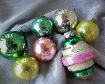 Six 1950's Glass Christmas Ornaments in Pink, Green, Yellow and Silver