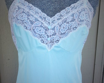 Elegant  Blue Floor  Nightgown Slip by Kayser  size 36 Medium