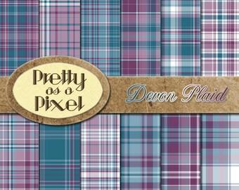 Printable Scrapbook Paper - Devon Plaid - 12 x 12 - Set of 12 - INSTANT DOWNLOAD