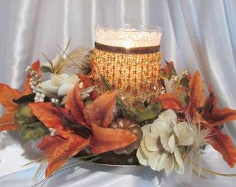 Autumn Fall Beaded Hurricane Candle Holder and Large Pumpkin Wreath Centerpiece