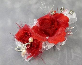 Marsala Red, White Pearl and Rhinestone Bridal or Bridesmaid Hair Fascinator