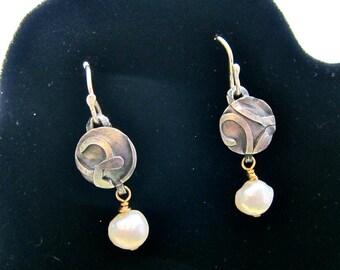 Fused Sterling  Textured Earrings,  Textured Sterling Earrings , Freshwater Pearls, Fused Silver Dangles