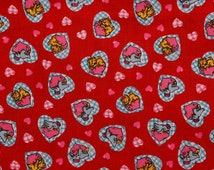 Red quilt Cotton Fabric 4 fat quarters Birds kitties sleeping on pink hearts Blue plaid hearts Pink heart pillows Grey bird Yellow cat