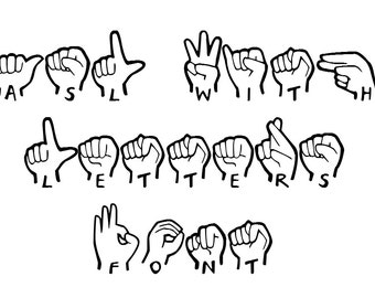 ASL With Letters Font  INSTANT DOWNLOAD!