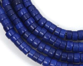 "4mm Turquoise Heishi Rondelle Beads 16"" - Cobalt / Indigo Blue (e7188)"