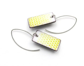 Ombre White and Yellow Earrings - White Rectangle Earrings with Yellow Faded Polka Dots - Enamel on Copper